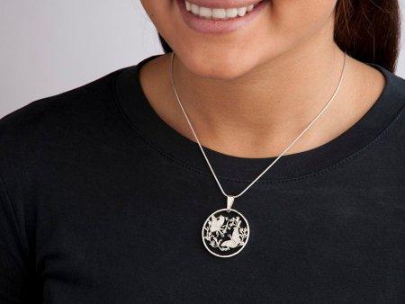 "Sterling Silver Monarch Butterfly Pendant, Hand Cut Bermuda Monarch Butterfly Coin, 1 1/4"" in Diameter, ( # 493S )"