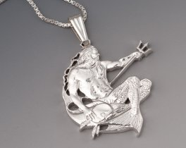 Sterling Silver Neptune Pendant, Hand Cut Barbados Neptune Coin, ( # 22S )