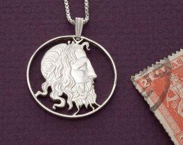 "Sterling Silver Neptune Pendant, Hand Cut Greek 20 Draxmai Neptune Coin, Greek Mythology ,  1 1/4"" in Diameter, ( # 147S )"