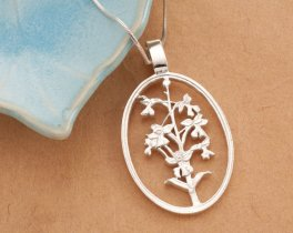 """Sterling Silver Orchid Pendant, Silver Orchid Jewelry, Sterling Silver Flower Pendant, Silver Orchid Pendant, 1 5/8"""" long, ( # 800S )"""