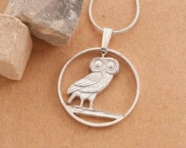 "Sterling Silver Owl Pendant and Necklace, Hand cut Greek two draxmai owl coin. Greek coin jewelry, 7/8"" in diameter, ( # 143S )"