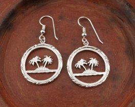 Sterling Silver Palm Tree Earrings, Palm Tree Earrings, Tropical Earrings, Silver Earrings, Womans Jewelry, Silver Jewelry, ( # 884ES )