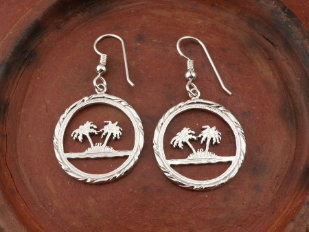 Sterling Silver Palm Tree Earrings, Palm Tree Earrings, Tropical Earrings, Silver Earrings, Womans Jewelry, Silver Jewelry, ( # 884ES )