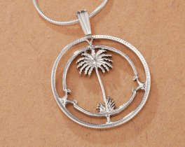 """Sterling Silver Palm Tree Pendant, Hand Cut British W Africa Coin, Tropical Jewelry, 7/8"""" in Diameter ( # 42S )"""