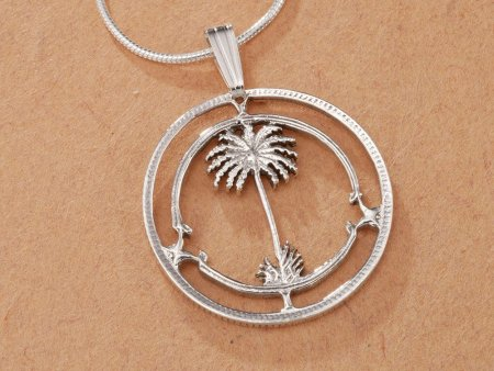 "Sterling Silver Palm Tree Pendant, Hand Cut British W Africa Coin, Tropical Jewelry, 7/8"" in Diameter ( # 42S )"