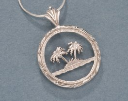 "Sterling Silver Palm Tree Pendant, Hand Cut Oman Palm Tree Coin, Sterling Silver Palm Tree Jewelry, 1"" in Diameter, ( # 884S )"