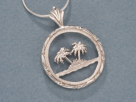 """Sterling Silver Palm Tree Pendant, Hand Cut Oman Palm Tree Coin, Sterling Silver Palm Tree Jewelry, 1"""" in Diameter, ( # 884S )"""
