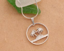 """Sterling Silver Palm Tree Pendant, Hand cut Palm Tree coin, Sterling Silver Palm Tree Jewelry, 7/8"""" in diameter, ( # 582S )"""
