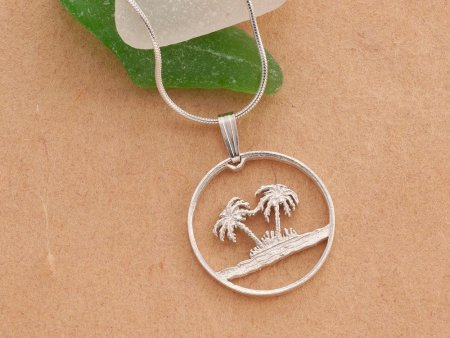 "Sterling Silver Palm Tree Pendant, Hand cut Palm Tree coin, Sterling Silver Palm Tree Jewelry, 7/8"" in diameter, ( # 582S )"