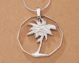 "Sterling Silver Palm Tree Pendant, Hand Cut Philippines Palm Tree Coin, Silver Palm Tree Jewelry, 1 1/4"" in Diameter, ( # 250S )"