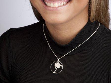 "Sterling Silver Palm Tree Pendant, Hand Cut Philippines Palm Tree Coin, Silver Palm Tree Jewelry, 1 1/4"" in Diameter, ( # 250S )"