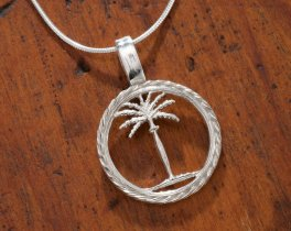 """Sterling Silver Palm Tree Pendant, Hand Cut Sterling Silver Palm Tree Necklace, 3/4"""" in Diameter, ( # 859S )"""
