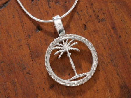 "Sterling Silver Palm Tree Pendant, Hand Cut Sterling Silver Palm Tree Necklace, 3/4"" in Diameter, ( # 859S )"