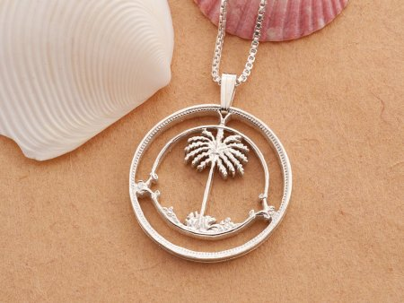 "Sterling Silver Palm Tree Pendant, Silver Palm Tree Jewelry, Hand Cut Coin Jewelry, Palm Tree Pendant, 1 1/8"" in Diameter, ( # 834S )"