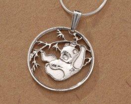 "Sterling Silver Panda Bear Pendant and Necklace, Hand Cut Sterling Silver Chinese Panda Bear Coin, 7/8"" in Diameter, ( # 66S )"