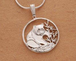 "Sterling Silver Panda Bear Pendant, hand cut Chinese Panda Bear Coin, 3/4"" in Diameter ( # 67S )"
