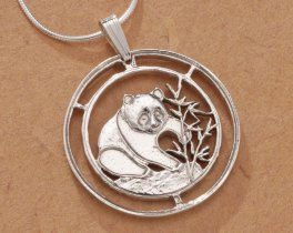 Sterling Silver Panda Bear Pendant, Hand Cut Chinese Panda Bear Coin Jewelry, Silver Panda Bear Jewelry, (  68S )