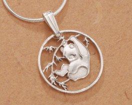 Sterling Silver Panda Bear Pendant, Hand Cut Chinese Panda Bear Coin, Panda Bear Jewelry, ( # 62S )