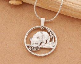 "Sterling Silver Panda Bear Pendant, Silver Panda Jewelry, Panda Bear Jewelry, Wild Life Jewelry, 7/8"" diameter, ( # 64S )"