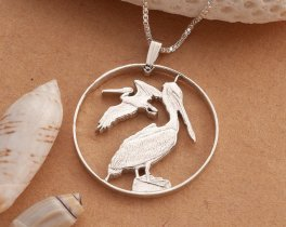 "Sterling Silver Pelican Pendant, Silver Pelican Necklace, Pelican Jewelry, British Virgin Islands Coin Jewelry, 1 1/4"" diameter, ( # 47S )"