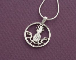 "Sterling Silver Pineapple Pendant and Necklace, Hand Cut Bahamas five cents coin,  Pinapple Jewelry, 3/4"" in Diameter, ( # 15S )"