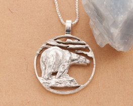 "Sterling Silver Polar Bear Pendant, Hand cut Polar Bear Medallion, Sterling Silver Polar Bear Jewelry, 1 1/4"" diameter, ( # 837S )"
