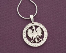 "Sterling Silver Polish Eagle pendant, Hand cut Polish Eagle coin, Silver Polish Eagle Jewelry, 3/4 "" in diameter, ( # 259S )"