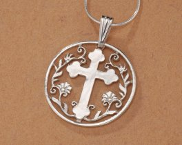 "Sterling Silver Religious Cross Pendant, Hand Cut Sterling Silver Cross Medallion, Religious Jewelry,  1 1/8"" in Diameter, ( # 778S )"