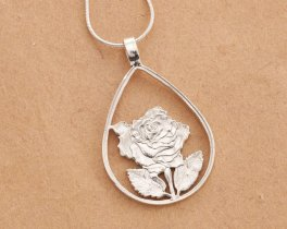 "Sterling Silver Rose Pendant and Necklace, Hand cut Silver Rose Jewelry, Sterling Silver Rose Pendant, 1 1/4"" long, ( # 670S )"