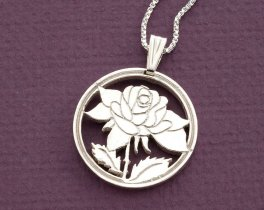 "Sterling Silver Rose Pendant, Sterling Silver Rose Jewelry, Sterling Silver Flower Jewelry, 1 1/8"" diameter, ( # 775S )"