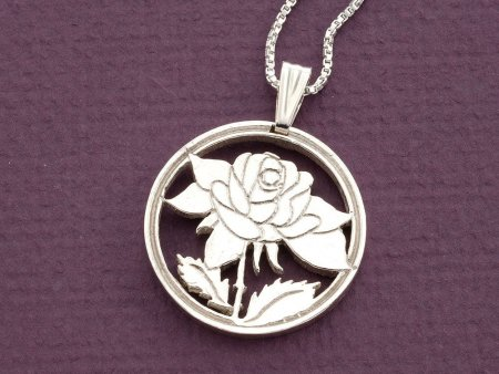 """Sterling Silver Rose Pendant, Sterling Silver Rose Jewelry, Sterling Silver Flower Jewelry, 1 1/8"""" diameter, ( # 775S )"""
