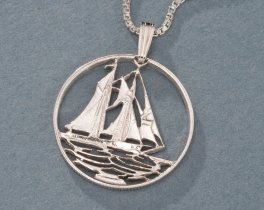 Sterling Silver Sail Boat Pendant, Nautical Jewelry, Hand Cut Caymen Island 25 Cents Coin, Nautical Pendant, ( # 59S )