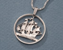 Sterling Silver Sailboat Pendant, Hand Cut Great Britain Half Penny Coin, Sterling Silver Nautical Jewelry,Nautical Jewelry, ( # 134S )