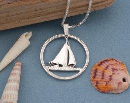 Sterling Silver Sailboat Pendant, Silver Nautical Pendant, Nautical Jewelry, Mens Nautical Gifts, Silver Sailboat Pendant, ( # 17S )