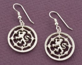 "Sterling Silver Scottish Lion Earrings, Silver Scottish Lion Earrings, Scottish Coin Jewelry, 1"" diameter, ( # 577ES )"