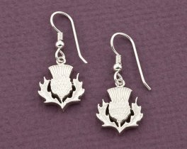 "Sterling Silver Scottish Thistle Earrings, Scottish Thistle Jewelry, Scottish Coin Jewelry, 5/8"" diameter, ( # 138BES )"