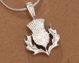 Sterling Silver Scottish Thistle Pendant, Hand Cut Scottish Thisle Coin Jewelry, Scottish Jewelry, ( # 138BS )