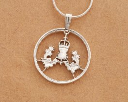 "Sterling Silver Scottish Thistle Pendant, Hand cut Scottish Thistle Coin , Scottish Coin Jewelry, 7/8"" in diameter ( # 137S )"