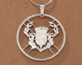 "Sterling Silver Scottish Thistle Pendant, Hand Cut Scottish Two Pound Thistle Coin, Scottish Jewelry, 1"" in Diameter, ( # 138S )"