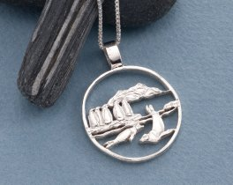 """Sterling Silver Sea Life Pendant, Hand cut Penguins and Seals Pendant, Sea Life Jewelry, 1 1/8"""" diameter, (  # 641S )"""