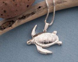 """Sterling Silver Sea Turtle Pendant, Silver Sea Turtle Jewelry, Silver Sea Life Jewelry, Marine Life Jewelry, 1"""" diameter, ( # 603S )"""