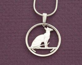 "Sterling Silver Siamese Cat Pendant, Silver Siamese Cat Jewelry, Silver Cat Jewelry, Siamese Cat Gifts, 3/4"" in diameter, ( # 663S )"