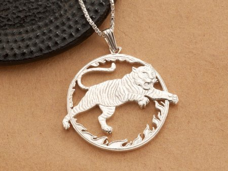 """Sterling Silver Tiger Pendant , Silver Bengal Tiger Pendant, Sterling Silver Bengal Tiger Jewelry, 1 1/4"""" diameter, ( # 558S )"""