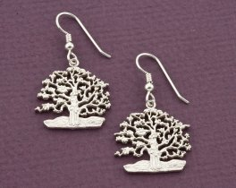 "Sterling Silver Tree Of Life Earrings, Tree Of Life Jewelry, Silver Tree Of Life Jewelry, 1"" diameter, ( # 646BES )"