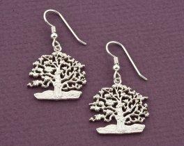 "Sterling Silver Tree Of Life Earrings, Tree Of Life Jewelry, Silver Tree Of Life Jewelry, 1"" diameter, ( # 646BES )"