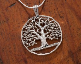 "Sterling Silver Tree Of Life, Hand Cut Sterling Silver Tree Of Life, 1 1/4"" in Diameter, ( # 874S )"
