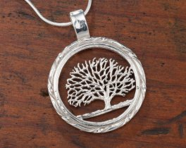 "Sterling Silver Tree Of Life Pendant, Hand Cut Connecticut State Quarter Coin Pendant, 1"" in Diameter, ( # 720S )"