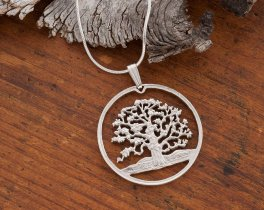 "Sterling Silver Tree of Life Pendant, Hand cut Silver Tree of Life Coin Jewelry, Tree of Life Jewelry, 1 1/8"" diameter, ( # 646S )"