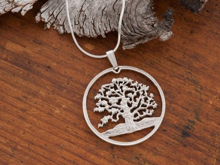 """Sterling Silver Tree of Life Pendant, Hand cut Silver Tree of Life Coin Jewelry, Tree of Life Jewelry, 1 1/8"""" diameter, ( # 646S )"""