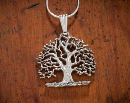 "Sterling Silver Tree Of Life Pendant, Hand Cut Sterling Silver Tree Of Life, 1 1/4"" in Diameter, ( # 874BS )"
